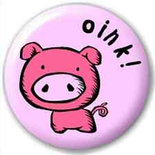 Small 25mm Lapel Pin Button Badge Novelty Pig - Oink!