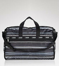 LeSportsac Line Up Stripe Weekender Travel Overnight Duffle Tote Bag & Pouch NWT