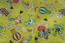 ONE VINTAGE FEEDSACK NOVELTY Nursery Rhyme YELLOW 38x45 Crisp! Humpty* Cow* Moon