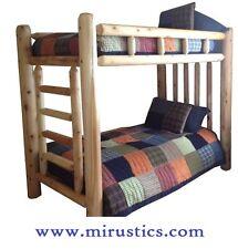 Queen/Queen Rustic Cedar Log Bunk Bed Bunkbed - EASY ASSEMBLY
