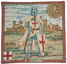 "TEMPLAR / TEMPLIER KNIGHT Heraldic Medieval French Tapestry Wall Hanging 24""x25"""