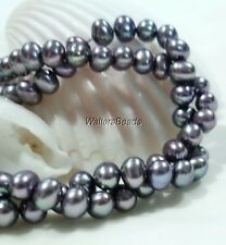 Freshwater Pearls Oval /Round Side Drilled Bead Strand Lilac Metallic  4MM 16""