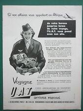 2/58 PUB UAT AEROMARITIME AIRLINE AFRIQUE HOTESSE SUPER DC-6 AIRLINER ENGINE AD