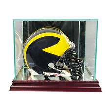 New Glass Mini Helmet Display Case NFL NCAA Cherry Molding FREE SHIPPING Made US