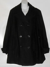 St John's Bay Woman Plus Size Wool Blend Double Breasted Jacket Coat Black 2X