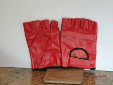 RED LEATHER FINGERLESS GLOVES - SIZE EXTRA SMALL