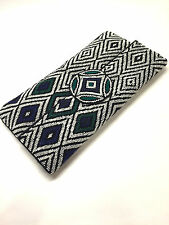 ROBERTA FREYMANN White Black Blue Green Seed-Beaded Silk Envelope Clutch Bag