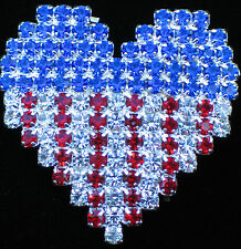 PATRIOTIC FLAG UNITED STATES USA MEMORIAL INDEPENDENCE DAY HEART PIN BROOCH 1.25