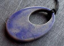 Pendentif ceramique raku donut oeuf bleu  necklace pendant egg blue cobalt