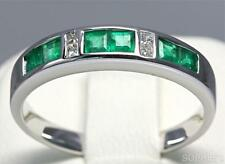 Princess Cut Natural Emerald & Diamond Anniversary Band Ring Solid18K White Gold