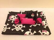 GIRLY SKULLS BEDDING SET FOR BARBIE, MONSTER HIGH, OR BRATZ DOLLS