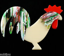 LEA STEIN FIGURAL WHITE ROOSTER COCK COCKEREL CHICKEN BROOCH PIN FRENCH RESIN
