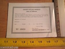 1930 License to carry a pistol in Los Angeles card unused firearm