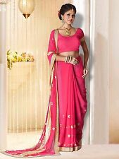 Pink Colour Georgette Embroidered Saree With Unstitched Blouse Piece HIKBR-2012