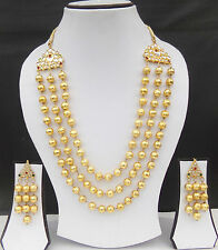 Ethnic Indian Necklace Jewelry Bollywood Earrings Gold Plated Pakistani Bead Set