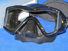 Oceanic Ion 3X scuba diving and snorkeling Mask with Neo strap - all Black
