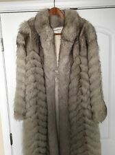 Full-Length Blue Fox Fur Coat. Custom Fitted Women's Medium