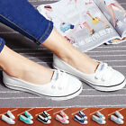 New 2016 Womens Ladies Flat Canvas Casual Shoes Size Spring Slip On Loafers