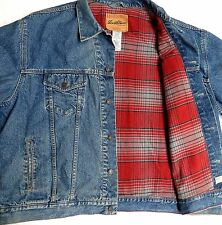 vtg Levi's BLUE DENIM Red Gray Plaid Flannel JACKET 3XL trucker jean Signature