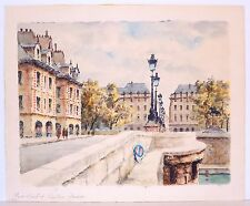 Pont Neuf French Landscape Watercolor Painting with Protest Sign Mid Century