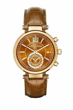 Michael Kors MK2424 Sawyer Gold Amber Croc Embossed Leather Band Brown 39MM NEW