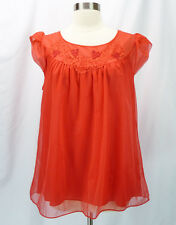 Vintage 60s Gaymode Red Double Nylon Chiffon Top Short Babydoll Nightgown S/M 34