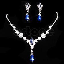 Women's Crystal Rhinestone Faux Pearl Drop Necklace Pendant Earrings Jewelry Set