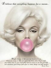 BELIEVE EVERYTHING HAPPENS REASON MARILYN MONROE QUOTE POSTER QU266A