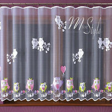 Children's Net Curtain Owls Ready Made SOLD BY THE METRE