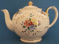 VINTAGE SADLER ROUND CUBE CREAM ROSES FLORAL GOLD TRIM  FULL SIZE TEAPOT WEDDING