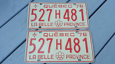 2 Car licence plate 1976 Plaque d'immatriculation Canada Québec 527H481