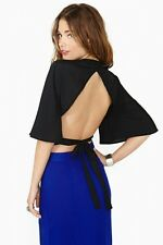 Nasty Glam Sheer Black Backless Kimono Batwing Sleeve Crop Tie Top Sz S M or L