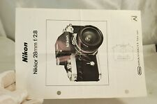 Nikon Nikkor 28mm f2.8 Ai Booklet Lens Manual Guide  7119024