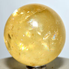 48mm Yellow OPTICAL CALCITE Sphere Rainbow Iceland Spar Crystal Mineral Ball