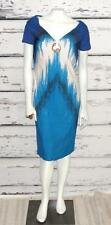 ROBERTO CAVALLI~NWOT~STRETCH~MULTI-COLOR~MODERN PRINT GRAPHIC~COCKTAIL DRESS~48
