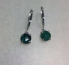 925 Sterling Silver Cushion Cut Natural Emerald Lever Back Earrings 1.60CTW