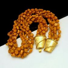 Vintage Torsade Necklace 6 Strands Mid Century Butterscotch Beads Chunky Yellow
