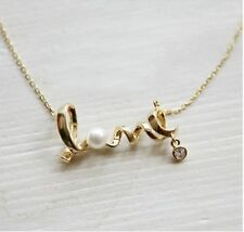 "Adiz Collections Valentine's Day ""LOVE"" Letter Choker Pearl Pendant Necklace"