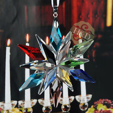 Top Colorful Suncatcher Crystal Glass Prisms Star Little Snowflake Ornament Gift