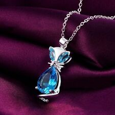 NEW 925 STERLING SILVER & BLUE AQUAMARINE/TOPAZ CAT GEMSTONE PENDANT NECKLACE