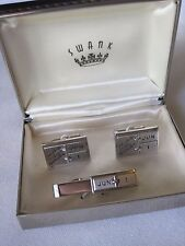 """Swank """"June 1 - A Date to Remember"""", Cufflinks and Tie Bar, New Old Stock"""