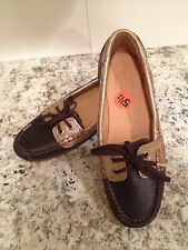 Sebago Bala Moccasins Loafers Boatshoes Leather Flat Dark Brown 5.5 M New