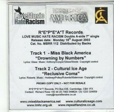 (DG258) Miss Black America / Cultural Ice Age, split single - 2003 DJ CD