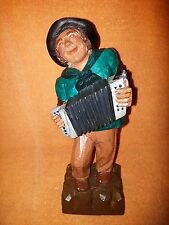 German Wood Carved/Painted Accordion Playing Musician - Figurine - Germany