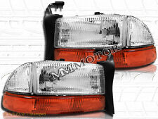 97-04 Dodge Dakota 98-03 Durango Chrome Headlights + Bumper Signal Lights Pair