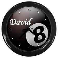 BLACK 8 BALL *ANY NAME CUSTOMISED* WALL CLOCK POOL BILLIARDS **GREAT GIFT ITEM**