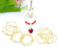 100 Gold Plated Wine Glass Charm Rings/ Earing Hoops  (25mm Internal Diameter)