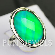 New Vintage Oval Mood Ring Multi Color Changing Facet Stone Free Box &Chart