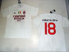 AC MILAN IS ALL IN MAGLIA MAGLIETTA L T-SHIRT CAMPIONI D'ITALIA 2011 ADIDAS