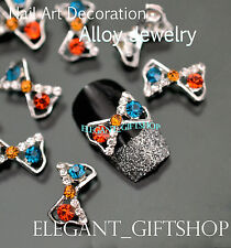 #EA100 3D Nail Art Tips Decoration Hollow Bow Knot Colorful Glitter Rhinestones